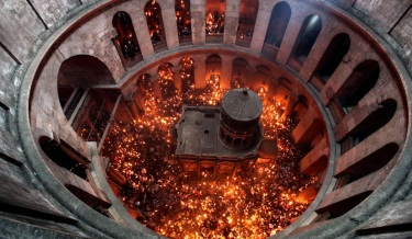 Miracle of the Holy Fire in the Church of the Holy Sepulchre in Jerusalem the day before Easter