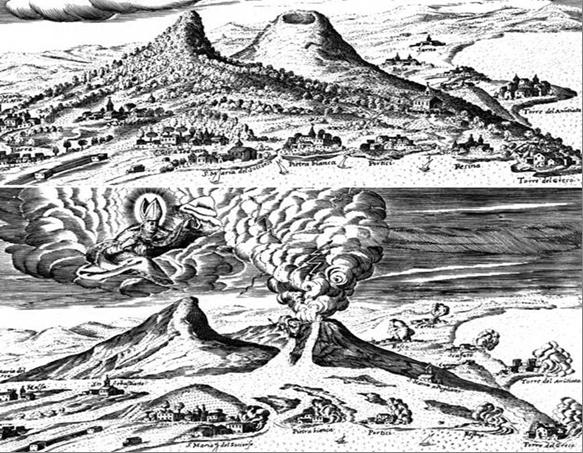 Везувий до и после извержения из книги Джулиани (Giuliani, 1632)