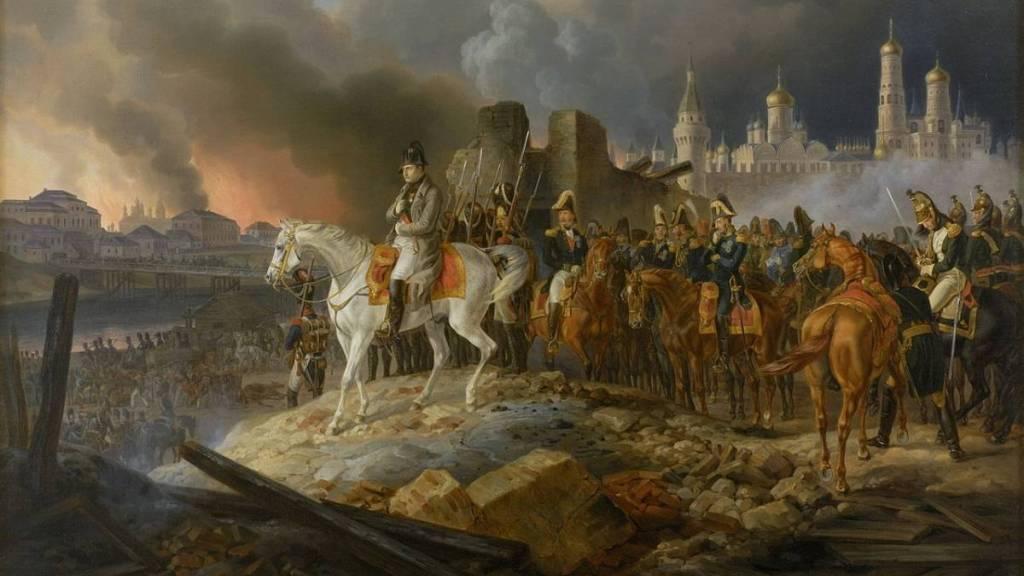 Наполеон Бонапарт в охваченной пожаром Москве
