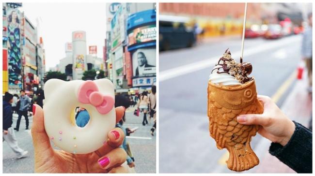 Забавная уличная еда в Токио — пончик в виде Хелло Китти,  мороженое-рыба