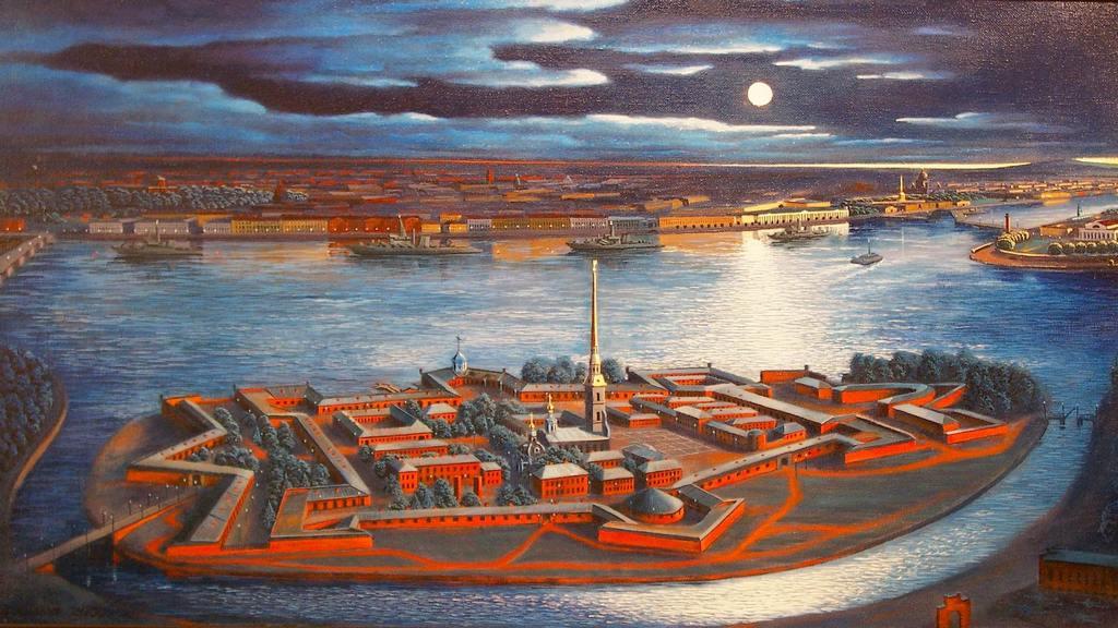 Петропавловская крепость ночь луна