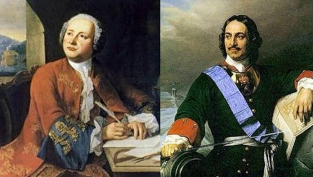 Михайло Ломоносов и Пётр Первый